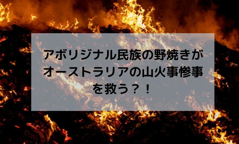 山火事とアボリジナ山火事とアボリジナル民族の野焼きル民族の野焼き