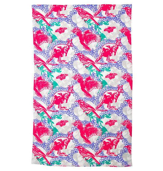 Ozkoi Aussie Lace Pink Cotton Tea Towel